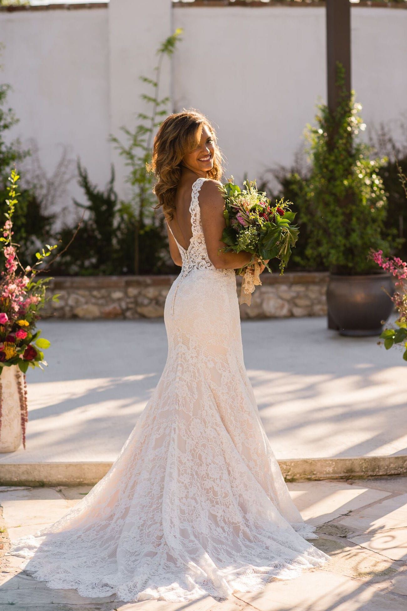 Spanish Summer Wedding Inspiration By Uche Photography Spanish Wedding Dress Wedding Inspiration Summer Lace Princess Wedding Dresses [ 1953 x 1300 Pixel ]
