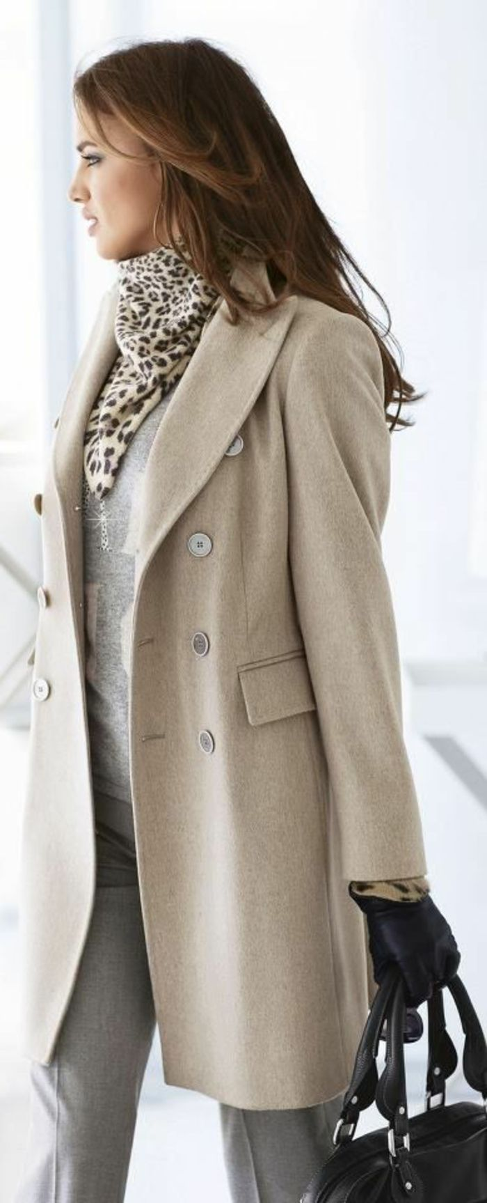 Manteau long beige femme pas cher