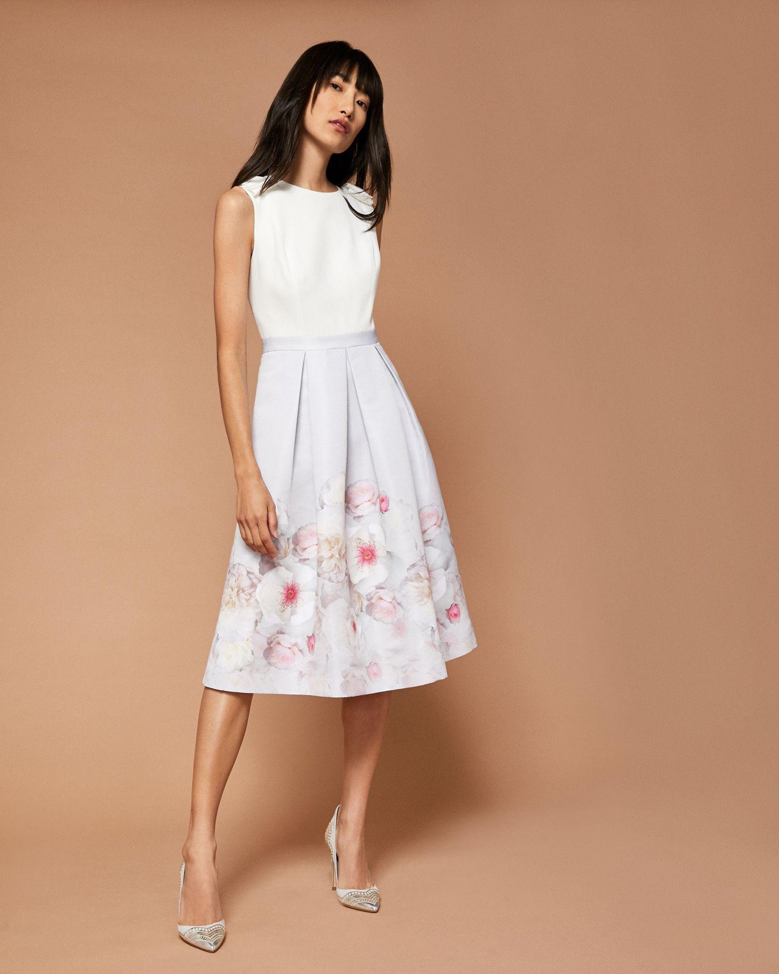 83e836392 Ted Baker Gilith Chelsea Grey pleated midi dress