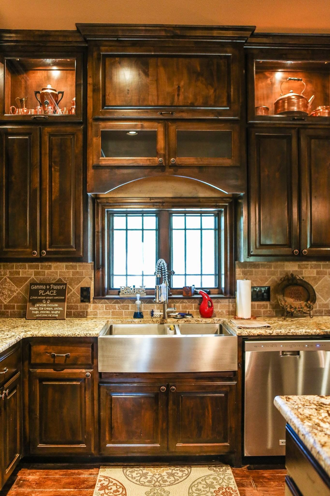 Dark Cabinets Rustic Kitchen With Farmhouse Sink Rustic Kitchen