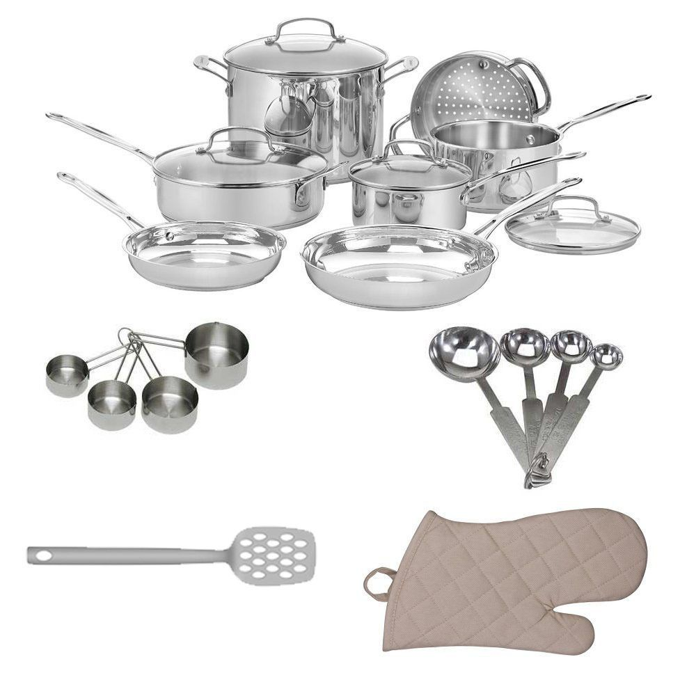 Cuisinart g chefs classic stainless piece cookware set with