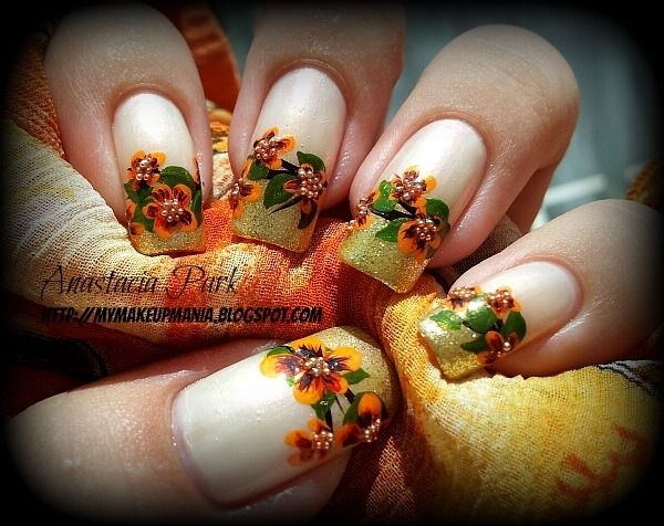 Art nails - Fall Flowers Fall Flowers, Thanksgiving And The White