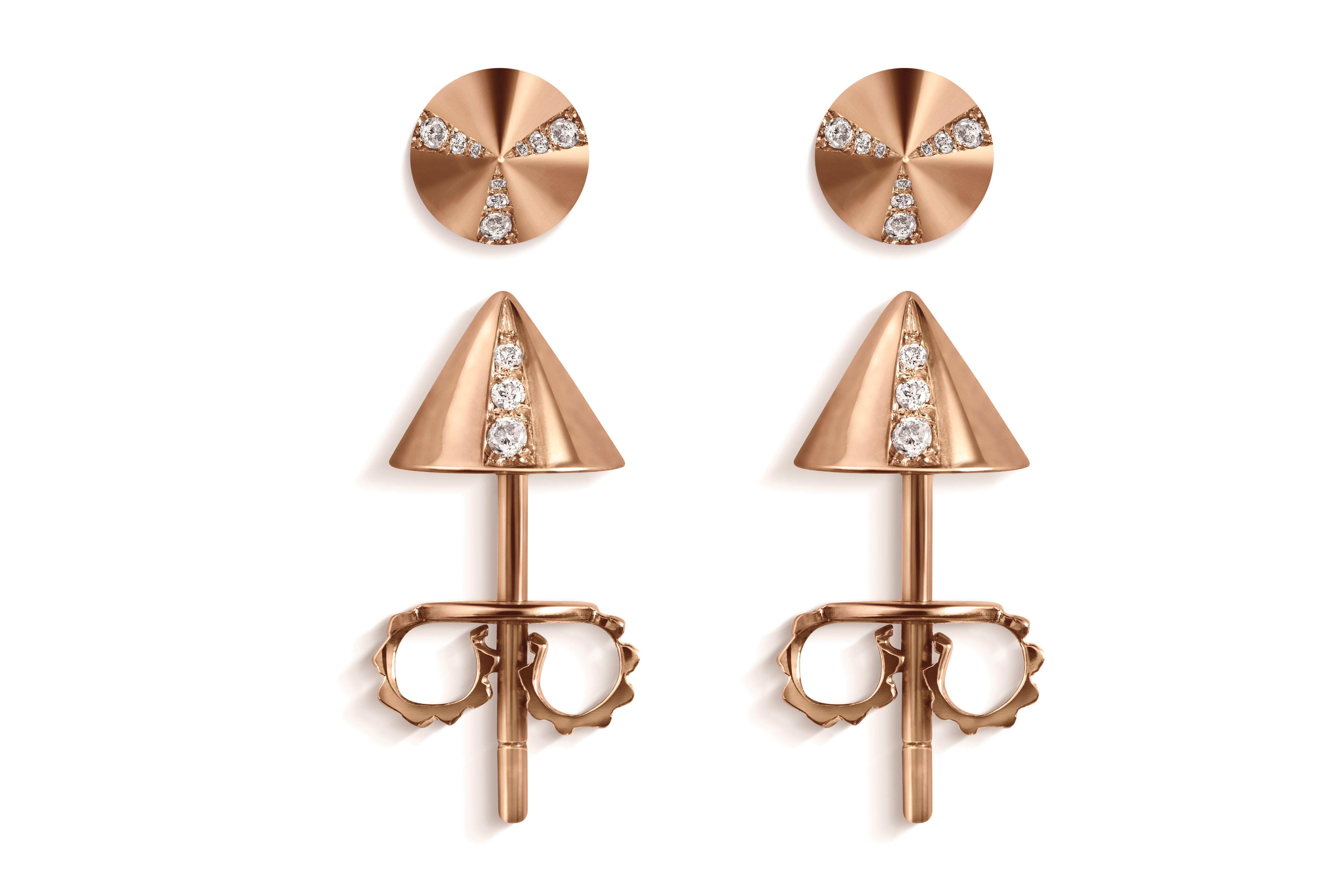 Spike Earrings in 18K Rose Gold with Diamonds.
