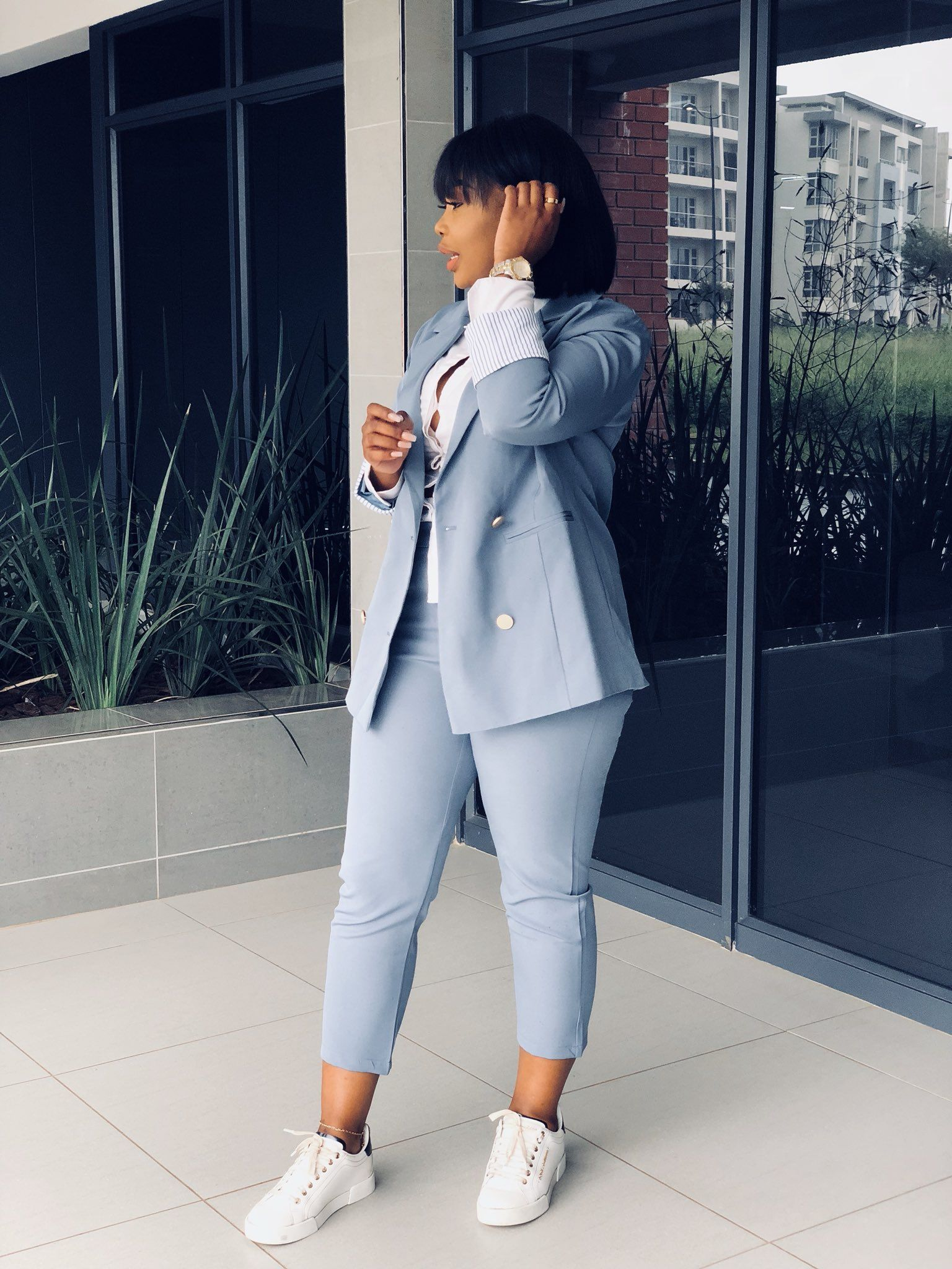 Blue. Female Suit. Smart casual. Sneaker outfit. in 2019