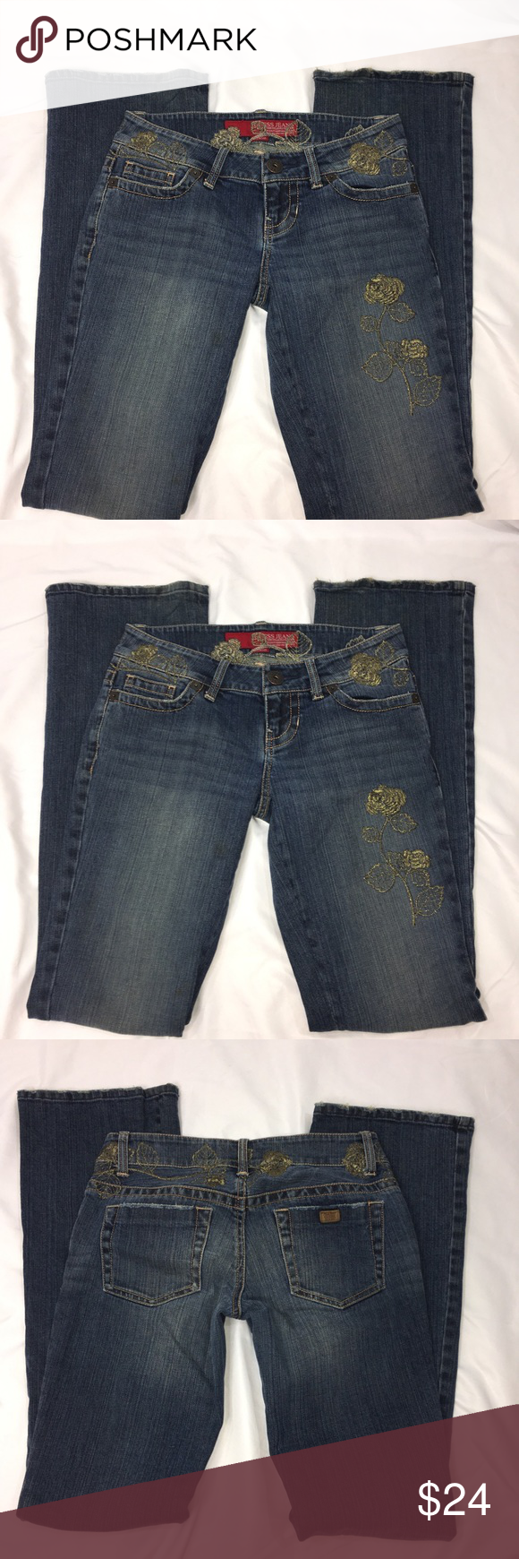 Guess jeans flare gold floral embroider size my posh picks