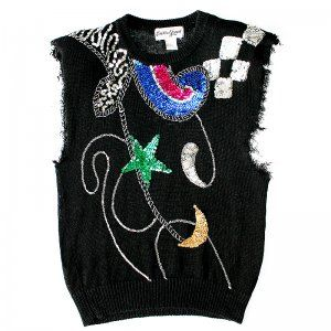 Bejeweled Moon & Star Bedazzled Tacky Ugly Sleeveless Gem Sweater Women's Size Medium (M)