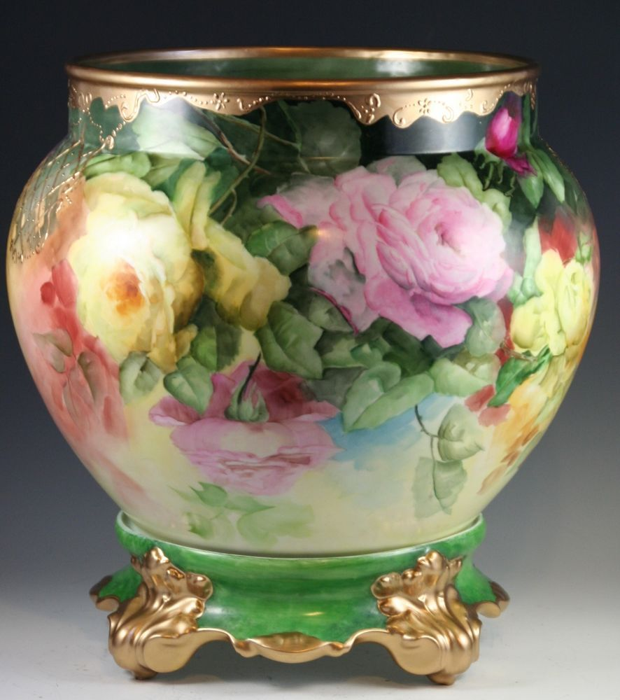 LIMOGES FRANCE Jardiniere  Heavy Gold