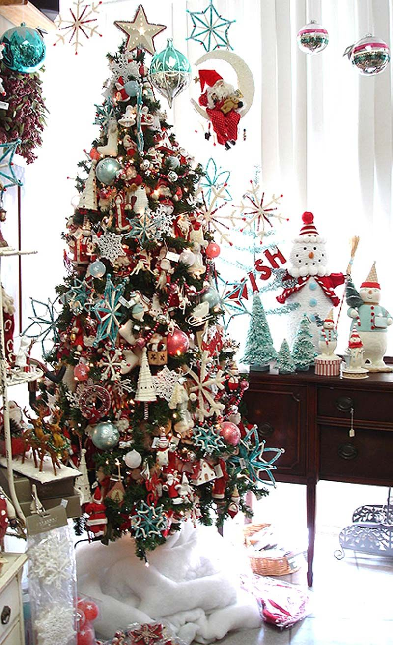 Christmas next year? | Aqua christmas, Red christmas tree, Christmas tree themes