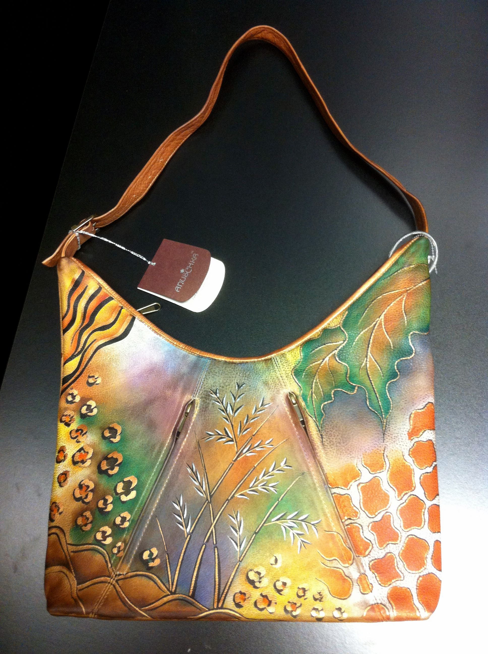 Italian leather bag applique Hand painted purse leather Hand painted leather bag Monet Blue green leather handbag women Leather tote bag