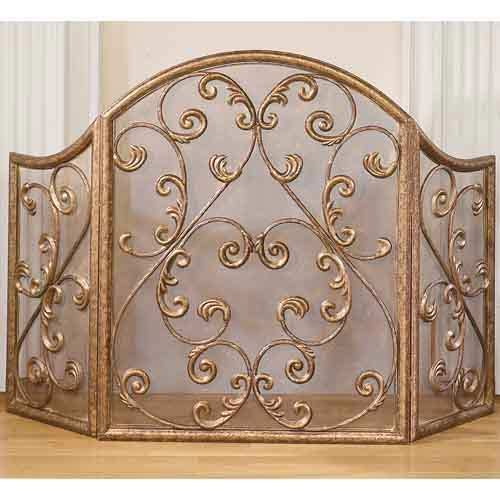 Antique Gold Iron Fireplace Screen Old World Designs ...