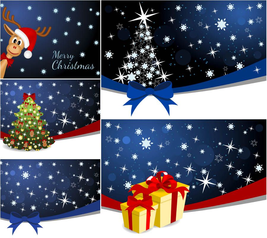 Christmas Backgrounds With Stars Vector