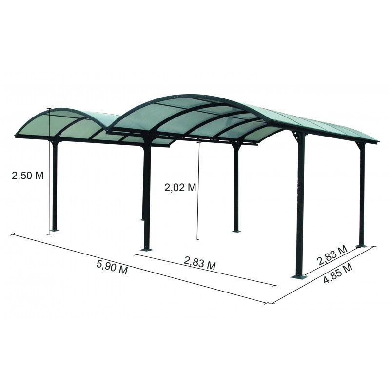 carport 2 voitures en aluminium et polycarbonate 6mm anti uv interiors pinterest. Black Bedroom Furniture Sets. Home Design Ideas