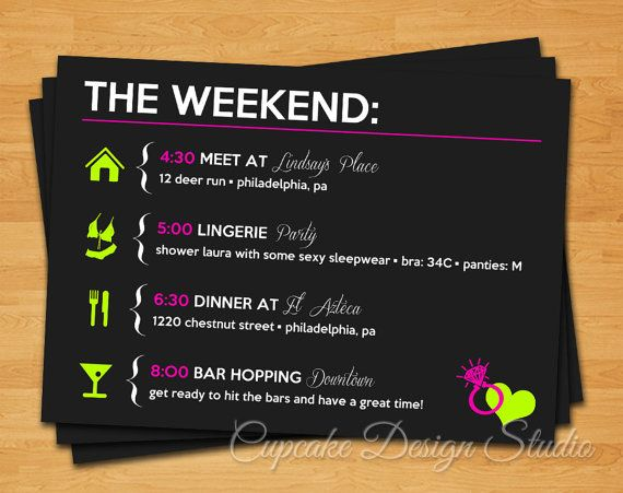 Printable Bachelorette Party Itinerary -- Lucky in Love Collection on Etsy, $14.26 CAD
