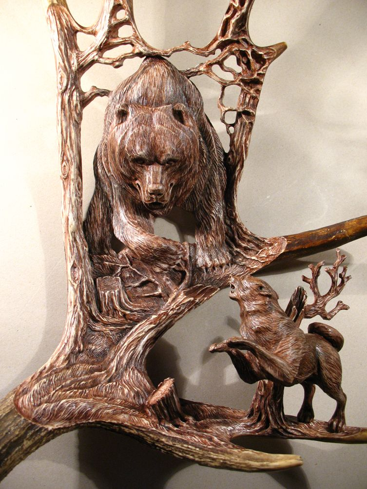 Moose antler carvings by dmitrygorodetsky.deviantart.com on @DeviantArt