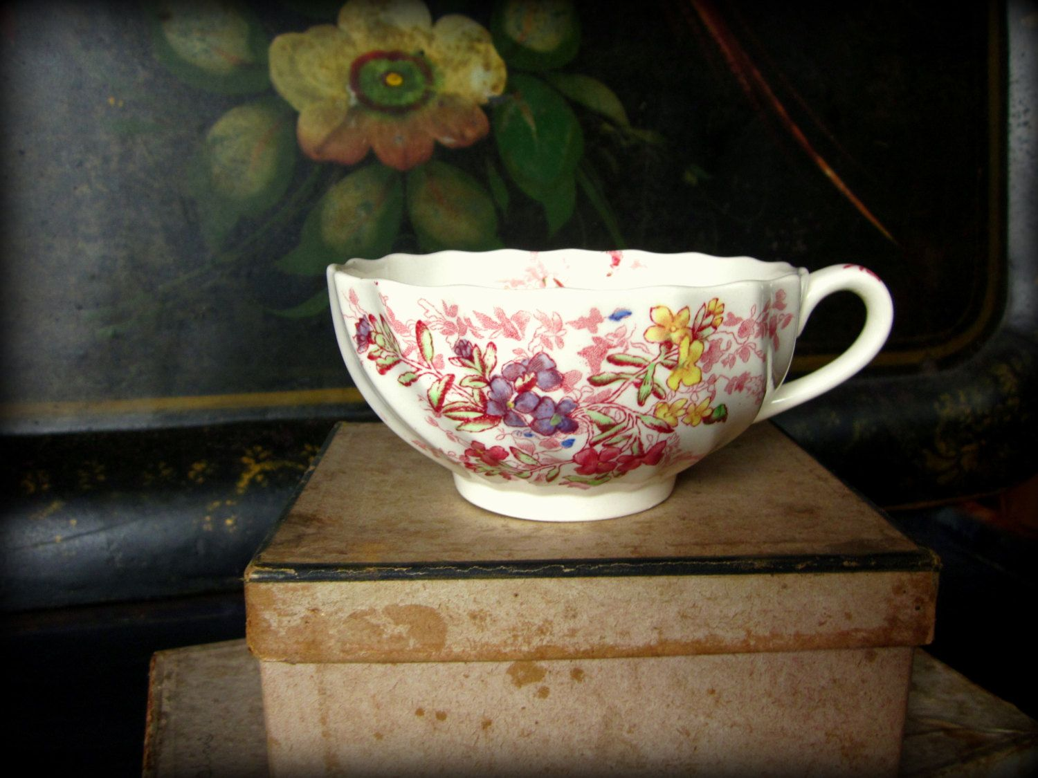 Vintage Teacup, Copeland Spode England Fairy Dell Teacup, Swirl Pattern, Bone China by GreenLeavesBoutique on Etsy