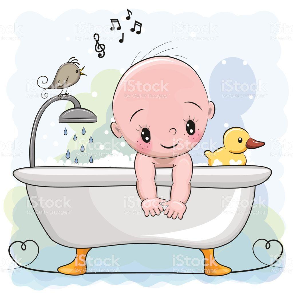 Cartoon Bath Cute White Hot Shower White Hot Bath