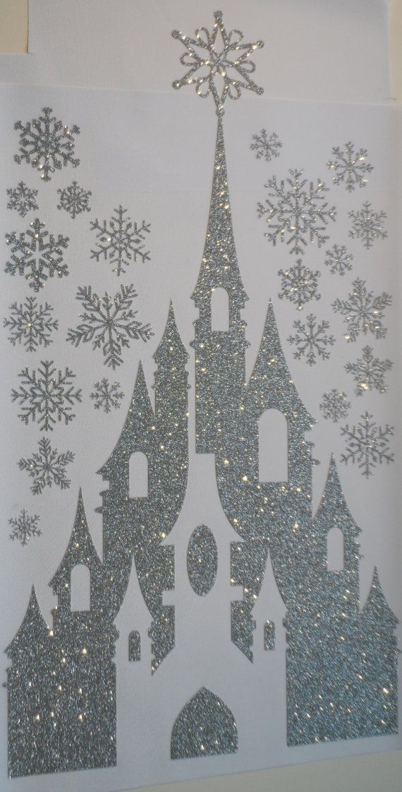 winter snow ice queen princess castle with snowflakes silver pressure sensitive glitter wall