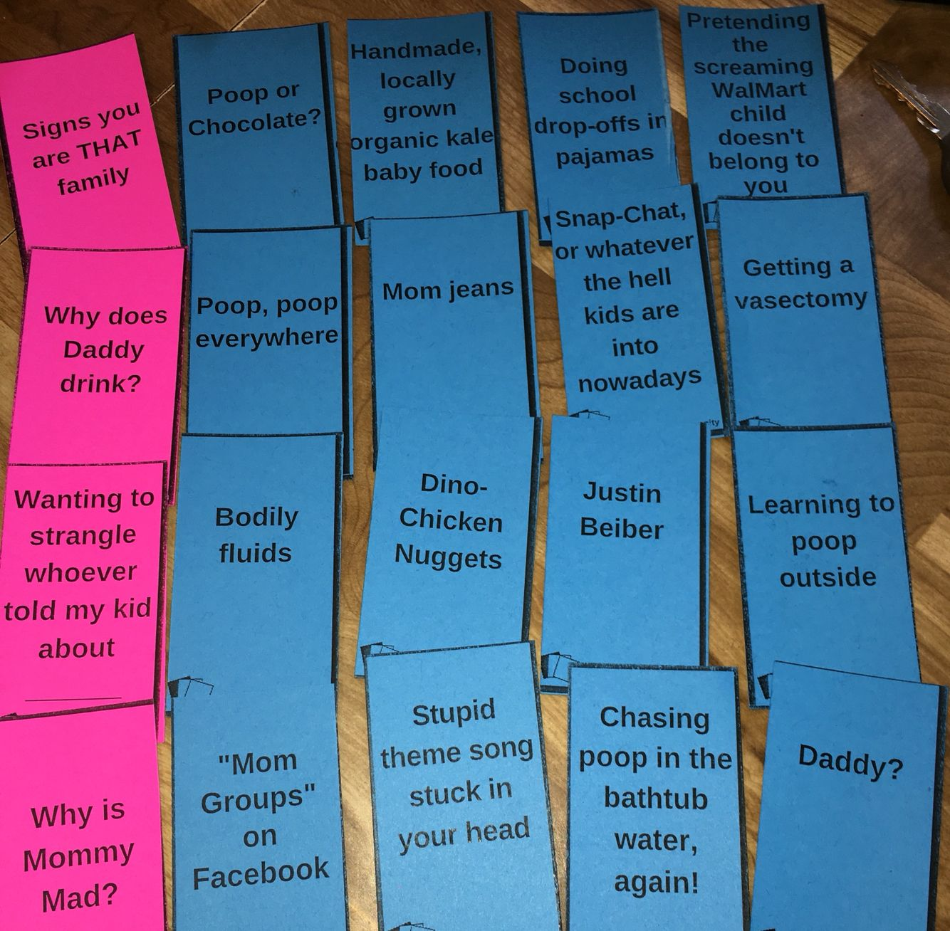 """Cards Against Humanity, baby style! Perfect baby shower gift. Question/fill in the blank cards that include """"Why my kid is crying"""", """"Why is Mommy mad?"""", """"Please don't put _____ in your mouth"""", and """"Signs you are THAT family"""" #pooporchocolate"""