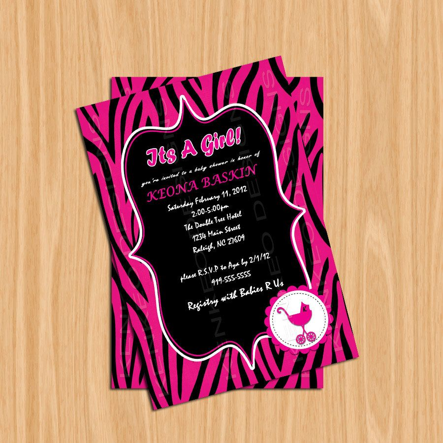 Diy printable 4x6 baby shower invitation hot pink and black zebra diy printable 4x6 baby shower invitation hot pink and black zebra filmwisefo