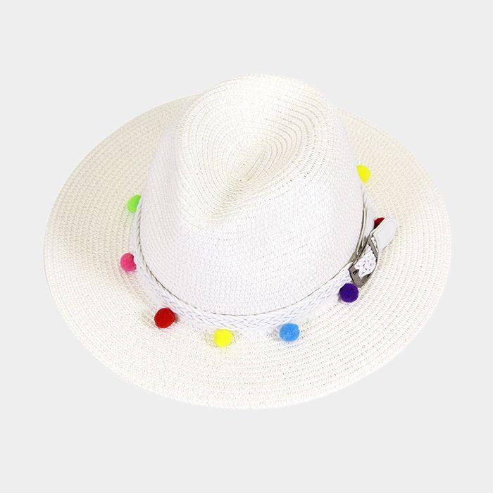 5c130c3ab34da Ginga s Galleria White Multi-Color Pom Pom Belt Fedora Straw Beach ...