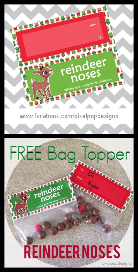 image about Christmas Bag Toppers Free Printable named Free of charge Printable: Xmas bag topper - reindeer noses Lovely