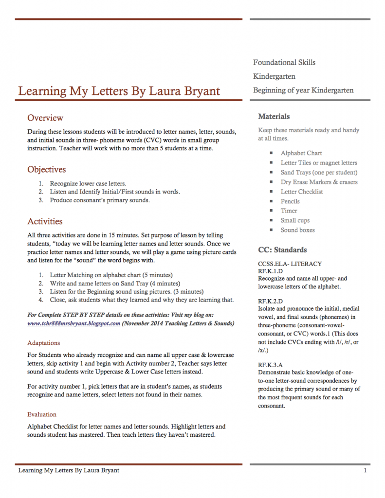 Teaching Letters and Sounds Lesson Plan Teaching letter