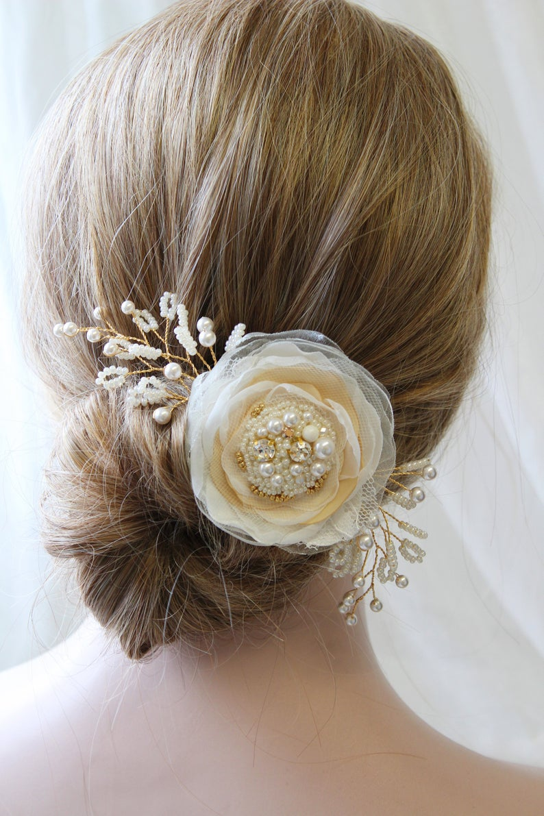 Bridal Hair Flower Bridal Fascinator Bridesmaids Flower Rhinestone Hair Comb Blush Headpiece Flower Hair Clip Wedding Hair Piece