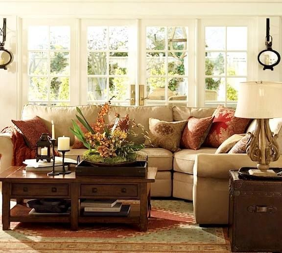 Pretty Living Room. Love The Sofa...beige With Red Accent