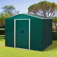 5.7 x 7.7ft Corrugated Steel Sliding Door Garden Shed - Green