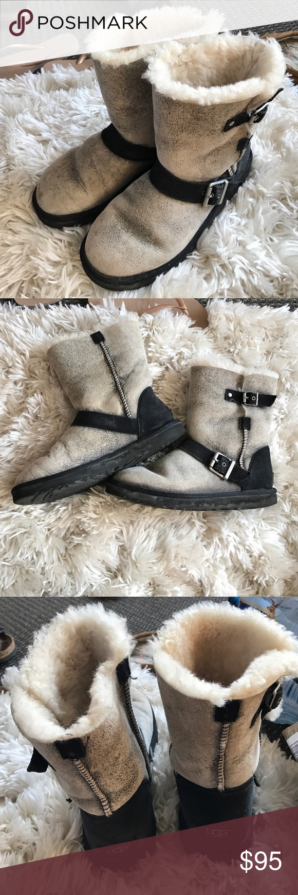 UGG buckled short boots black/grey In fairly good condition UGG Shoes Winter & Rain Boots