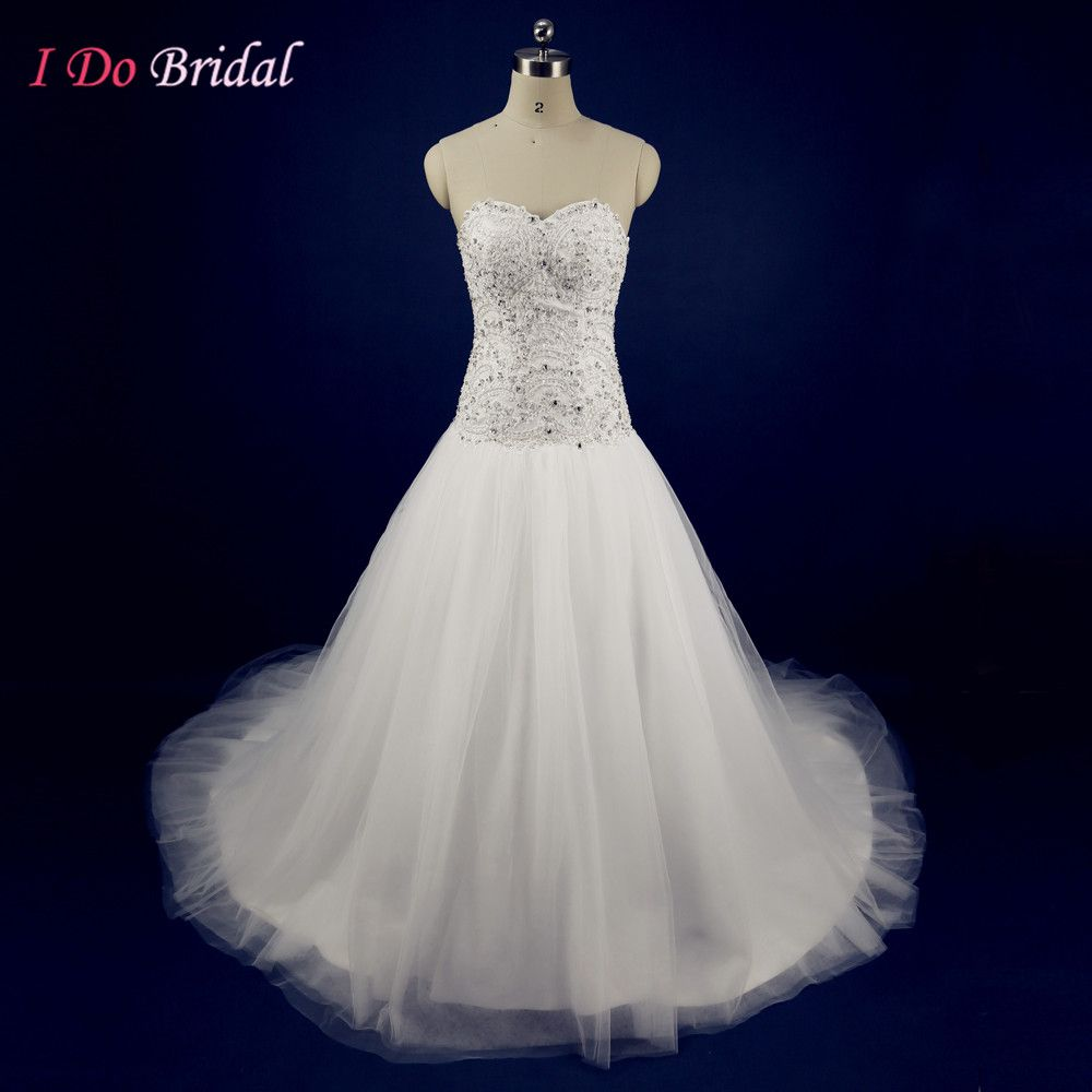 Wedding dresses with rhinestones  White Couture Glitter Wedding Dresses Tulle Rhinestone Appliques