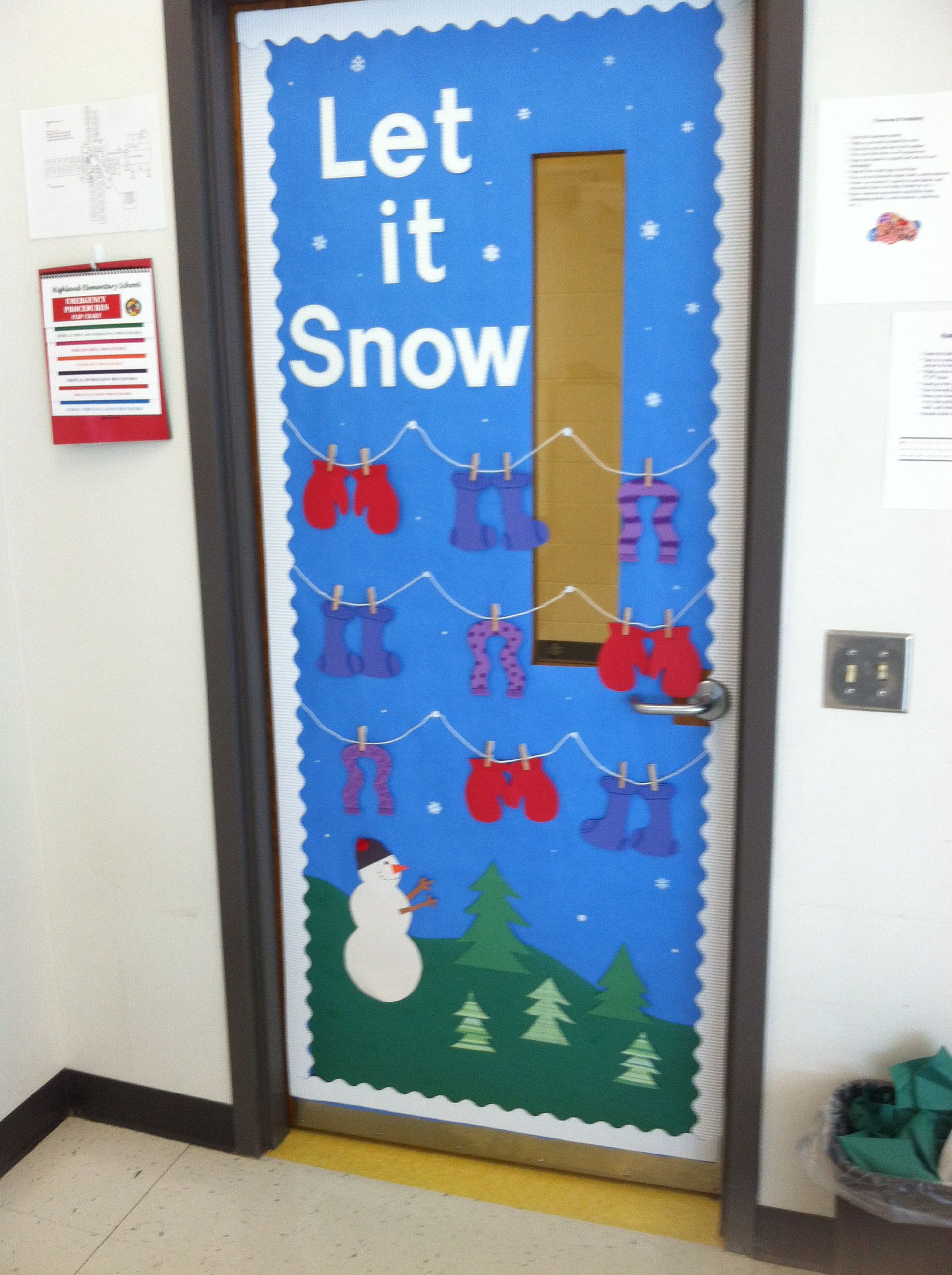 Let It Snow Winter Themed Classroom Door Winter Classroom Door School Door Decorations Holiday Classroom Doors
