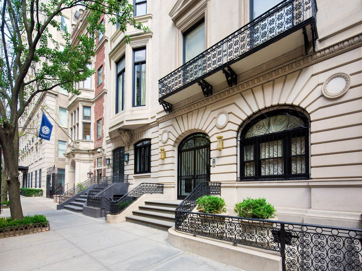 Less than a block from Central Park, the townhouse mansion is built entirely of limestone.