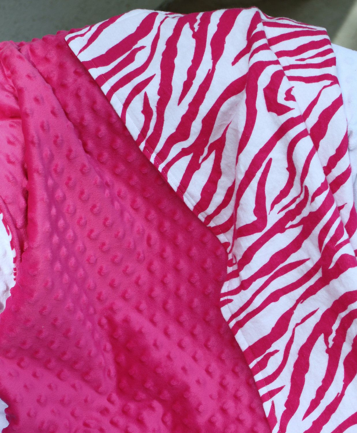 Baby or Toddler Girl Hot Pink Minky Dot and Pink Zebra Flannel Blanket  28