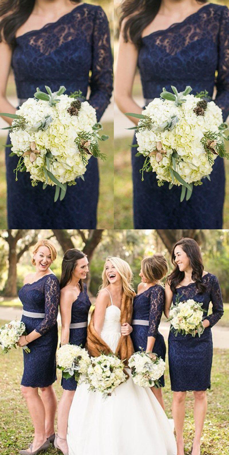 Elegant One Shoulder Short Navy Blue Lace Bridesmaid Dress with Sash ...