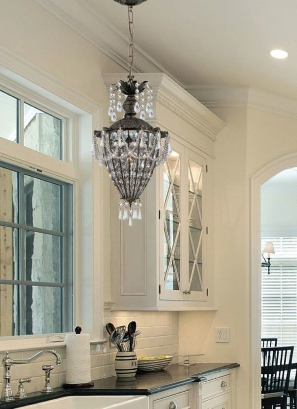 image of beautiful light for over kitchen sink using swarovski crystal beads on shabby chic chandelier - Kitchen Lights Above Sink