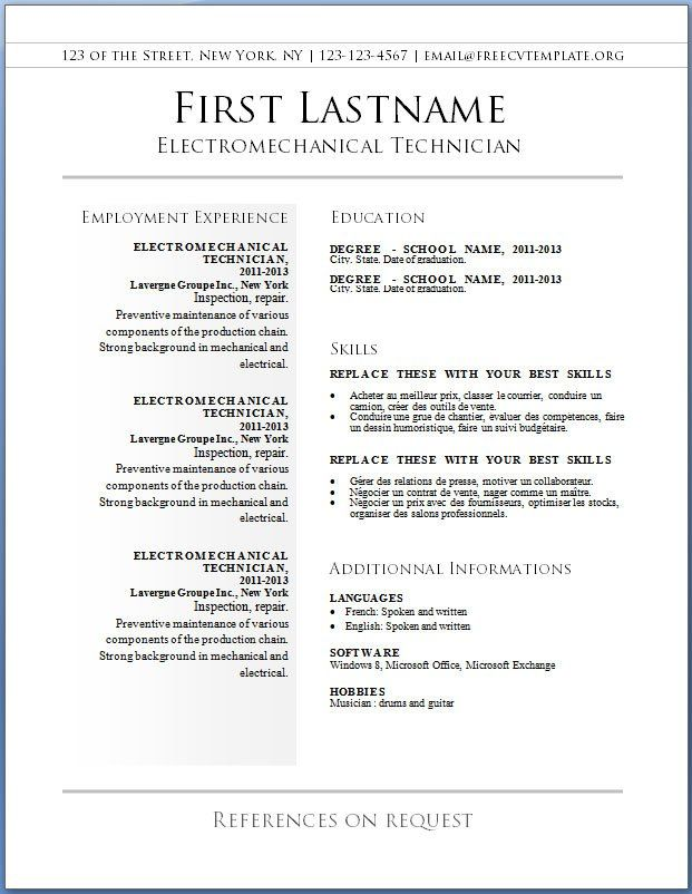resume template free printable