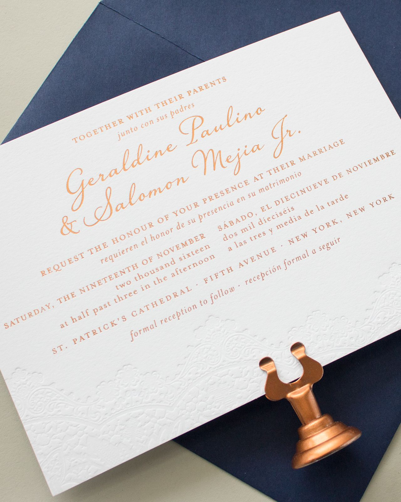 Bilingual Copper Foil And Blind Letterpress Wedding Invitations