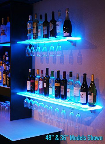 3 Led Lighted Floating Bar Shelves With Integrated Wine