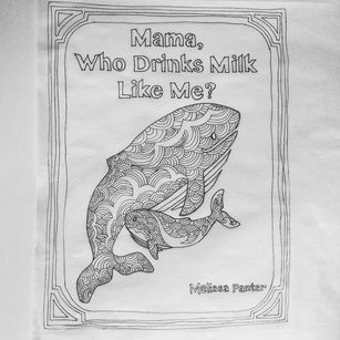 Mama and nursing baby whale, Adult coloring page, free printable download on site