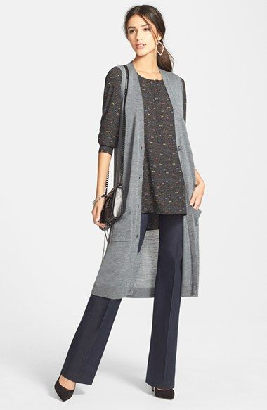 Halogen® Merino Blend Long Sweater Vest (Regular & Petite) available at #Nordstrom