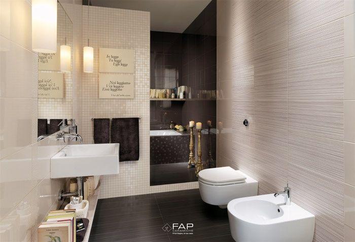 Ambiente bagno con rivestimento realizzato con la collezione in ...