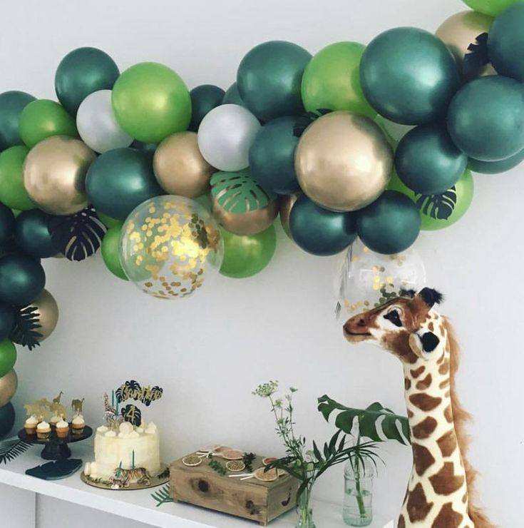 Tropical Balloon Arch Kit // Wild Theme Balloon Garland //Green balloons garland // Birthday Decoration // Safari // Party Decoration Animal #balloonarch