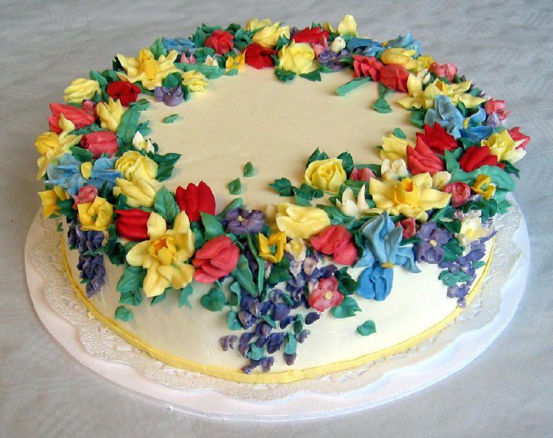 Spring flowers cake cakes pinterest cake birtday cake and ice spring flowers cake mightylinksfo