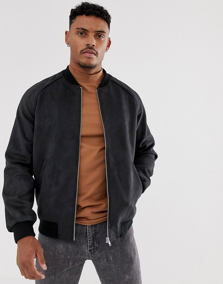 Asos Design Faux Suede Bomber Jacket In Black Modesens Suede Bomber Suede Bomber Jacket Bomber Jacket Outfit [ 1110 x 870 Pixel ]