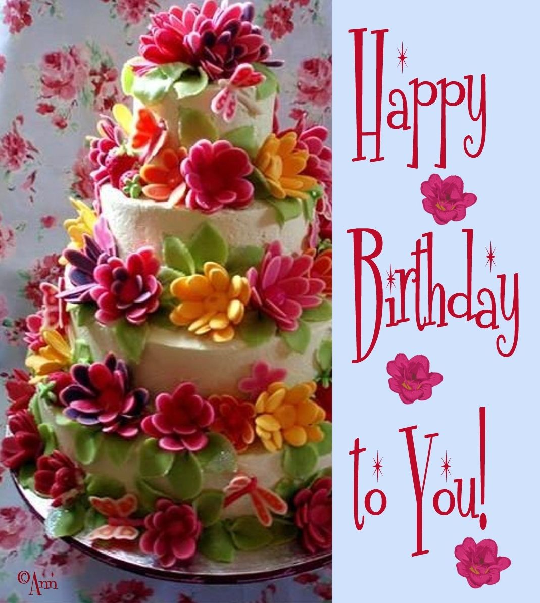 Delectable Floral Cakes Happy Birthday Birthdays And Floral Cake - Birthday cake n flowers