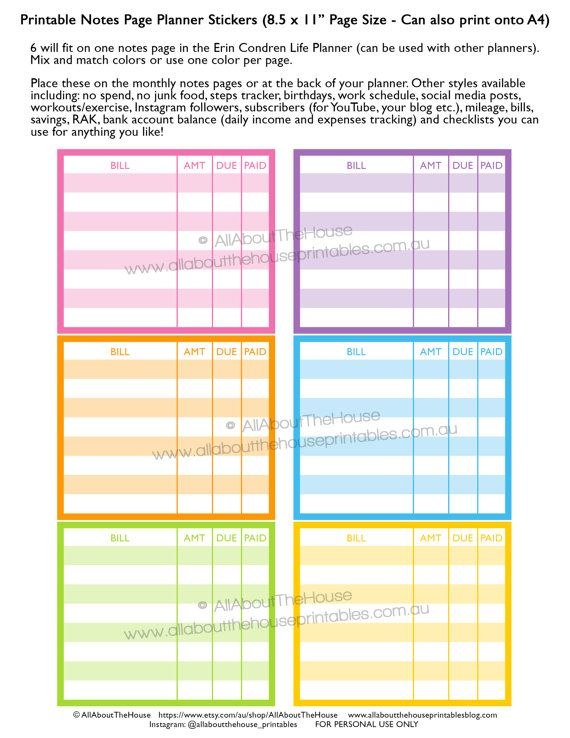 Bill Due Planner Stickers Notes Page Printable Erin Condren Eclp