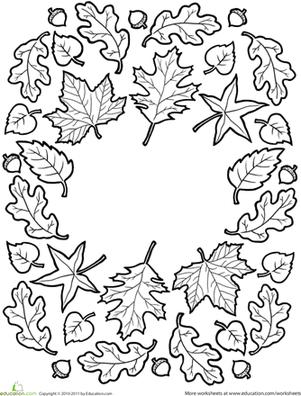 Fall Mandala Leaf ColoringFall Leaves Coloring PagesMandala