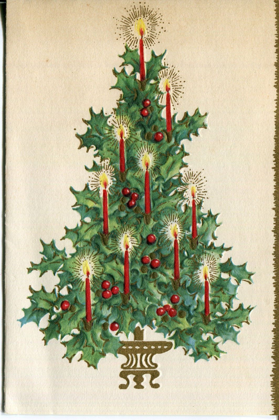 Vintages Christmas Card Holly Christmas Tree with Candles | eBay ...