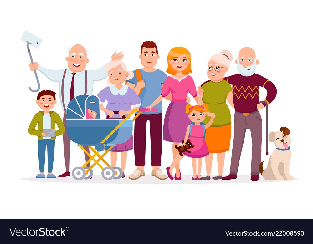 Big Family Standing Together As A Family Portrait Vector Image On